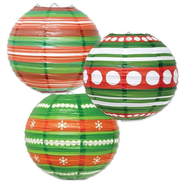 Pack of 18 Red, Green and White Ornament-Style Hanging Paper Lanterns 9.5""