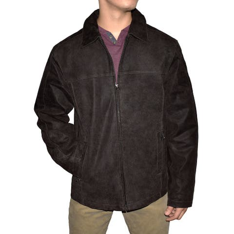 Men's Distressed Brown Classic Straight Bottom Jacket
