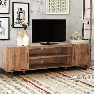 """Mid-Century Entertainment Center 60-inch TV Stand Console with Cabinets and Storage Shelves - 60.24"""" W x 16.34"""" D x 18.31"""" H"""