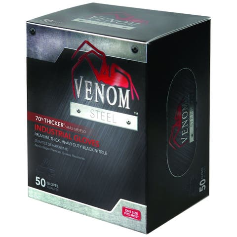 Medline VEN6045R Venom Steel Industrial Nitrile Gloves, Black