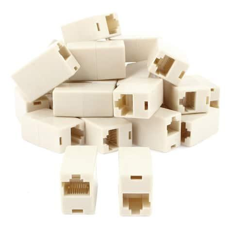Cat5 RJ45 Ethernet LAN Network Cable Extender Joiner Adapter Coupler Beige 30pcs