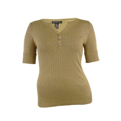 INC International Concepts Women's Metallic Cuffed Knit Henley - Gold - 0X