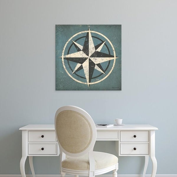 Easy Art Prints Ryan Fowler's 'Nautical Compass Blue' Premium Canvas Art