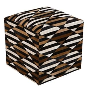 "18"" Black, Chocolate Brown and Ivory Striped Leather Square Pouf Ottoman"
