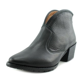 All Black Cowgirl Bootie Round Toe Leather Bootie