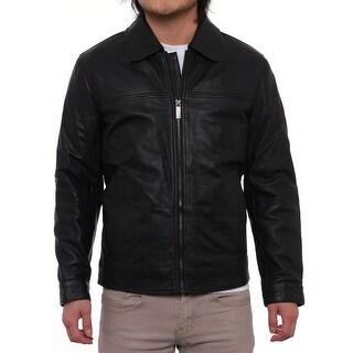Perry Ellis Men Lambskin Leather Open Bottom Jacket Basic Jacket