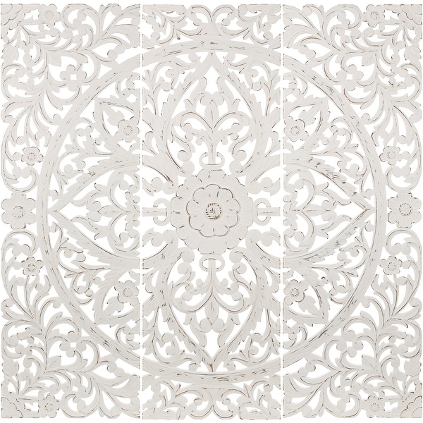 Luzie Floral Hand Carved Antique White Wooden 48x48-inch 3-Panel Wall Art. Opens flyout.