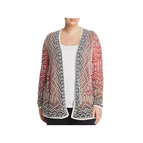 Nic + Zoe Womens Plus Cardigan Sweater Printed Long Sleeves