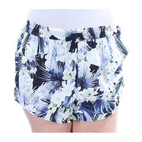 KENSIE Womens Blue Floral Cropped Short Size: L