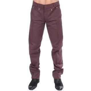 GF Ferre Bordeaux Cotton Straight Fit Jeans - it48-m