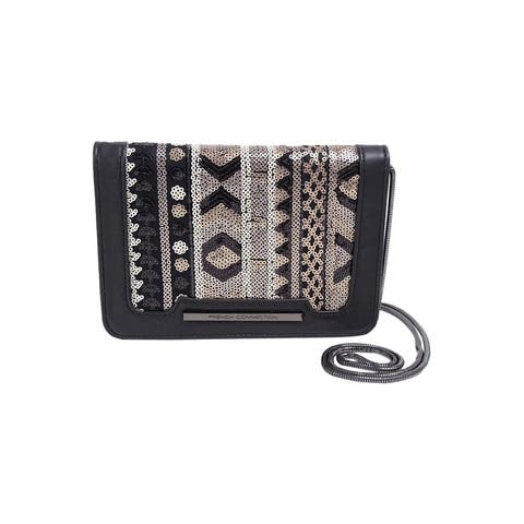 French Connection Vanessa Clutch, Black/Sequins - Black/Deco - One Size