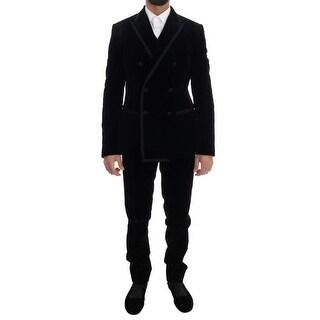 Dolce & Gabbana Black Velvet Double Breasted Slim Suit - it48-m