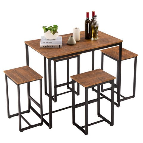 Simple Breakfast Bar Bistro Table and Chairs Kitchen Counter Set of 5