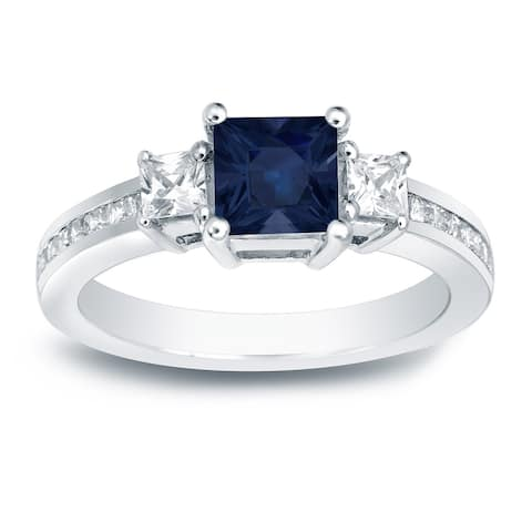 Auriya 14k Gold 3/4ct Princess-cut Sapphire 3-Stone Diamond Engagement Ring 3/4ctw