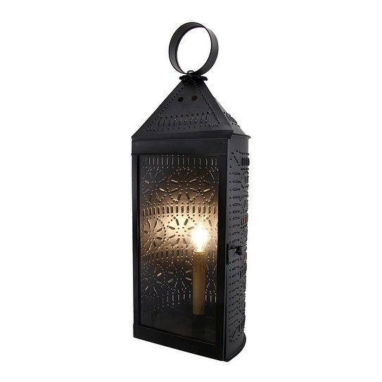 Smoky Finish Glass Front Electric Tall Punched Tin Harbor Candle Lantern 22 Inch - 21.5 X 8 X 7 inches