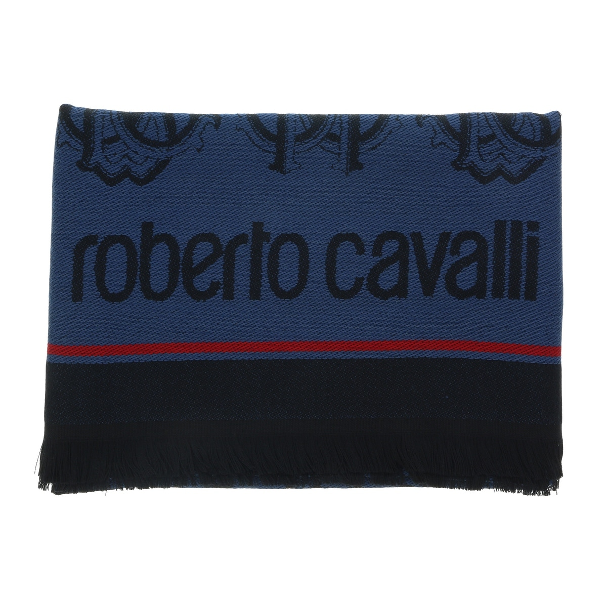 Roberto Cavalli ESZ053 05001 Grey Wool Blend Logo Mens Scarf