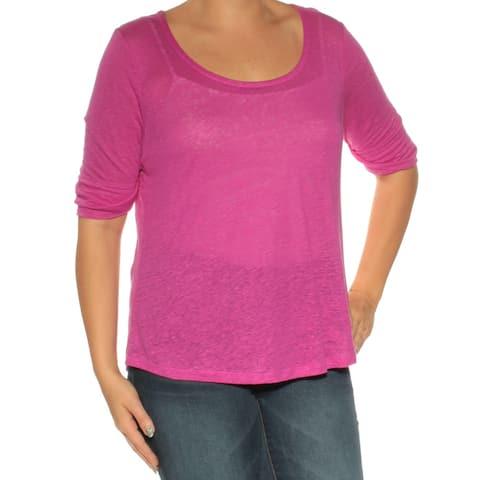 Ralph Lauren Womens Purple 3/4 Sleeve Scoop Neck Top Size L