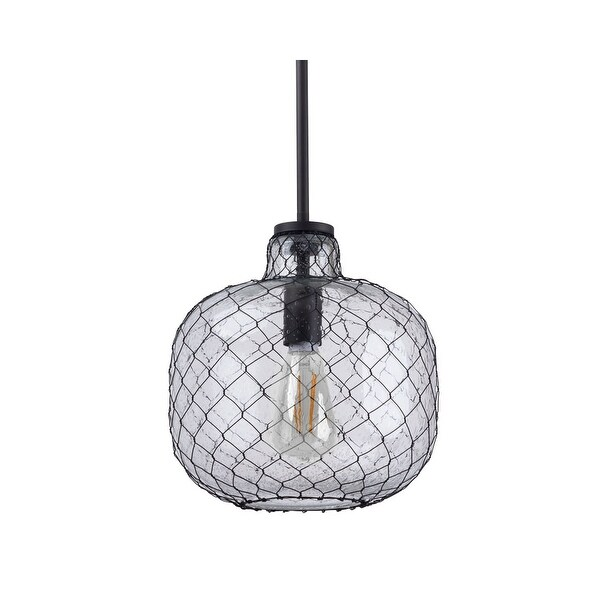 "Miseno MLIT143851 1-Light 10"" Wide Nautical Style Pendant - Seeded Glass Shade with Mesh Wire Cover - Olde Bronze"
