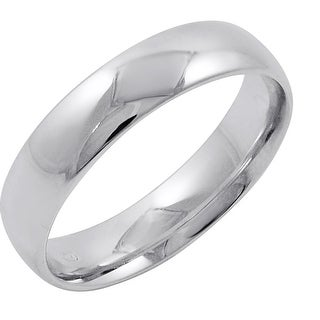 Men's 14K White Gold 5MM Comfort Fit Plain Wedding Band (Available Ring Sizes 8-12 1/2)