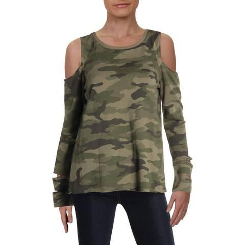 Vince Camuto Womens Sweatshirt Camouflage Open Shoulder - XS