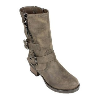 White Mountain Women's Birch Biker Boot Stone Suede Smooth Synthetic