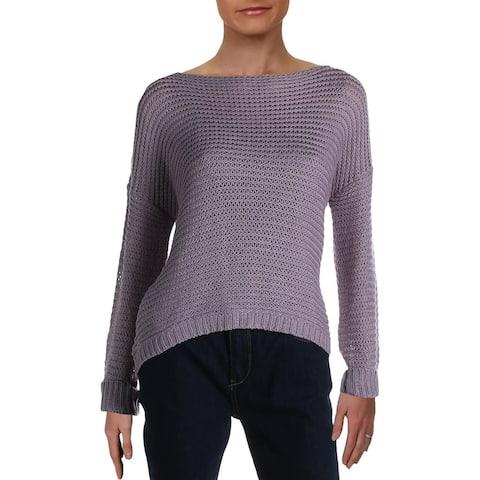 Aqua Womens Sweater Open Stitch Cable Knit - Elderberry