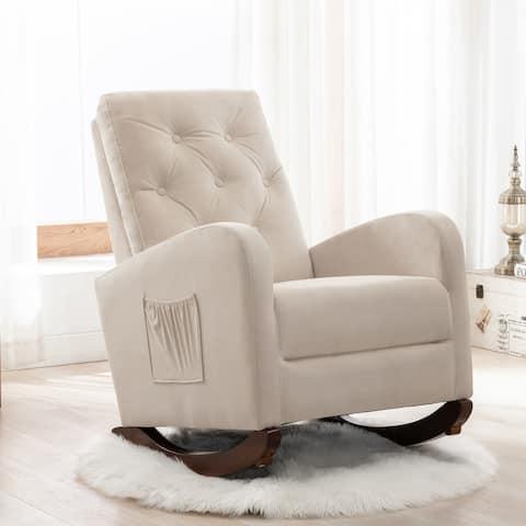 Baby Room High Back Rocking Chair Nursery Chair ,Fabric Padded Seat