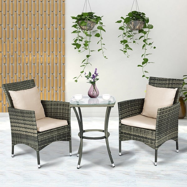 Costway 3pcs Patio Rattan Furniture Set Chairs Table Garden Coffee