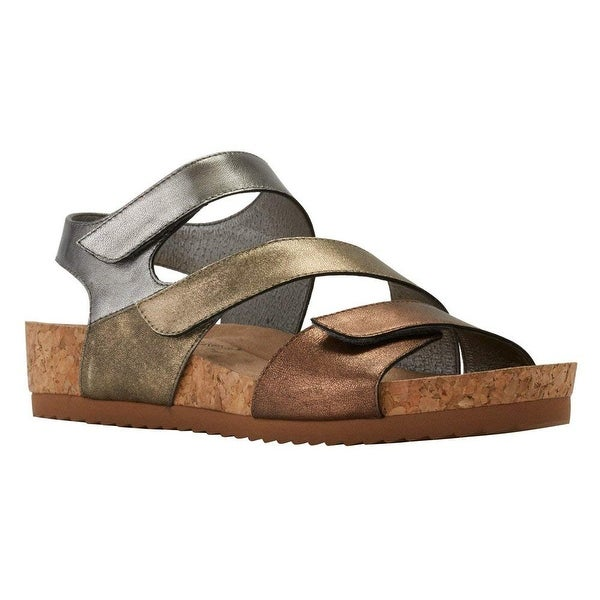 Walking Cradles Womens Pasha Leather Open Toe Casual Strappy Sandals