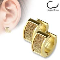 Pair of Gold IP Square Gold Sand Sparkle Stainless Steel Hoop Earrings