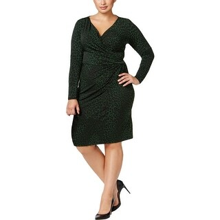 MICHAEL Michael Kors Womens Plus Wear to Work Dress Animal Print Long Sleeve