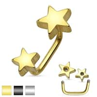 Double Stars IP 316L Surgical Steel Lippy Loop/Eyebrow Ring (Sold Ind.)