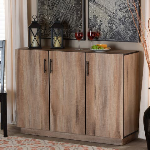 Patton Natural Oak Finished Wood 3-Door Dining Room Sideboard Buffet