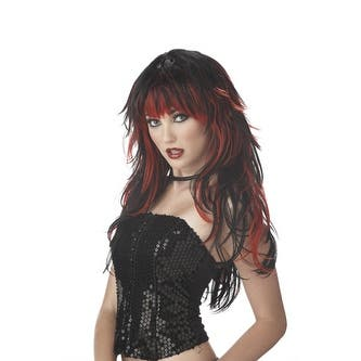 Tempting Tresses Black & Red Wig for Halloween Costume - Standard - One Size