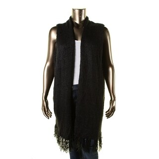 Seven7 Womens Plus Fringe Sleeveless Duster Sweater - 3X