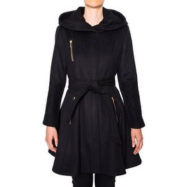 Laundry Women's Belted Fit And Flare Wool Coat With Hood