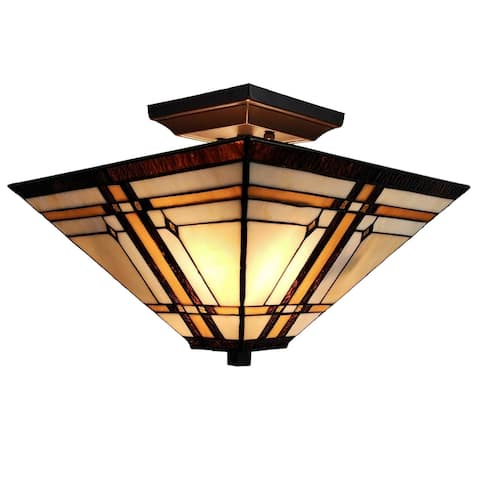 "Tiffany Style Ceiling Fixture Lamp Mission 14"" Semi Flush Mount Wide Stained Glass Tan Bedroom Gift AM085CL14B Amora Lighting"