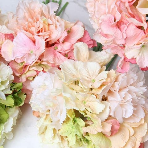 """FloralGoods Silk Hydrangea Peony Bouquet in Various Colors 12"""" Tall"""