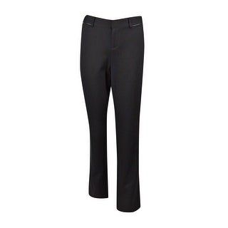 INC International Concepts Women's Faux Leather Trim Pants - Deep Black