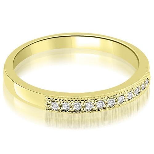0.20 cttw. 14K Yellow Gold Classic Milgrain Round Cut Diamond Wedding Band