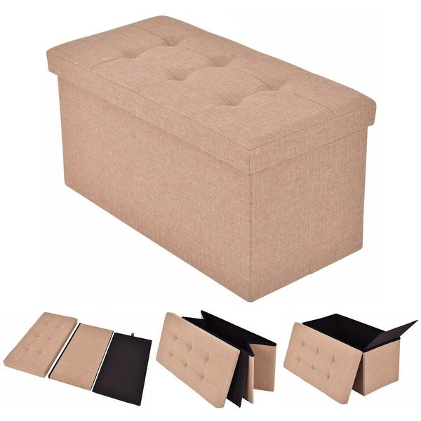 Ottomans Deacon Beige Upholstered Blanket Box: Shop Costway Folding Rect Ottoman Bench Storage Stool Box