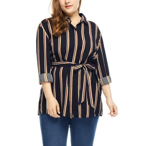 Allegra K Women's Plus Size Side Slit Long Sleeves Stripes Tunic Shirt - Blue
