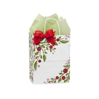 "Pack of 25, Floral Cub Tuscan Christmas Paper Bags 8 X 4.75 X 10.25"" 100% Recyclable, Made In Usa"