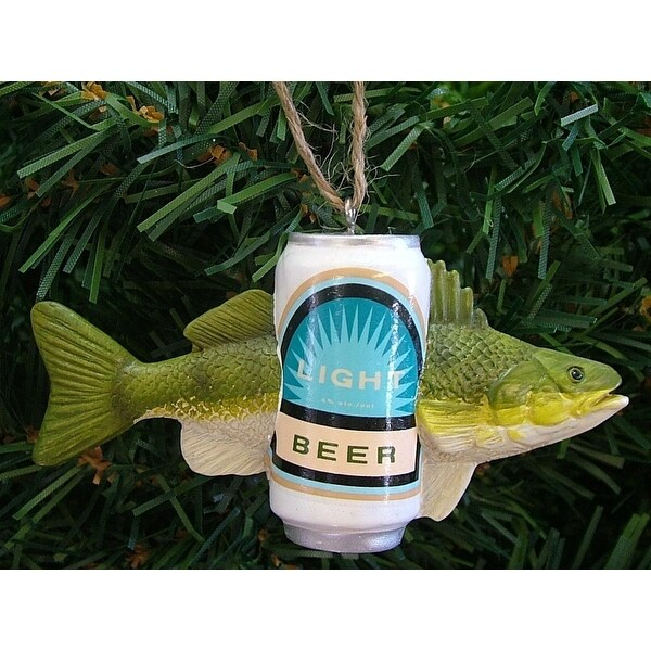 """4"""" Green Fish With A Beer Novelty Christmas Ornament"""