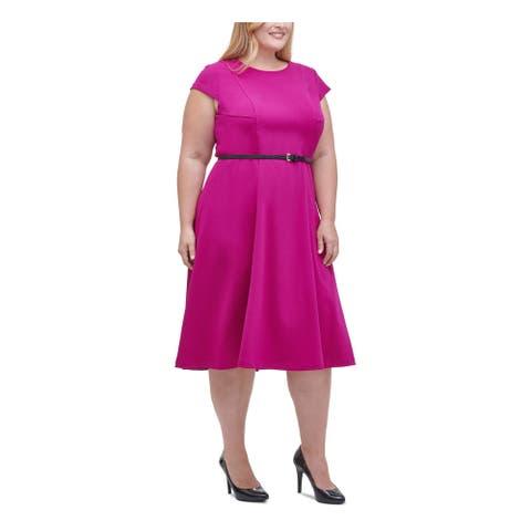 TOMMY HILFIGER Pink Short Sleeve Knee Length Dress 16W