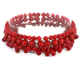 Red Dyed Coral Beaded Bracelets (Set of 3)