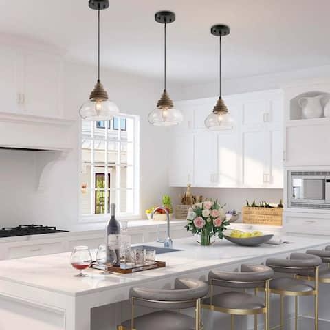 Modern Farmhouse 1-light Wood Pendant Glass Shade Island Lights for Dining Room