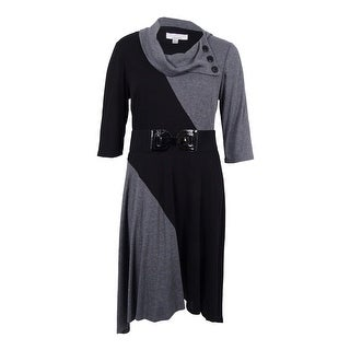 Signature Women's Belted Sweater Dress (2X, Black/Grey) - 2x