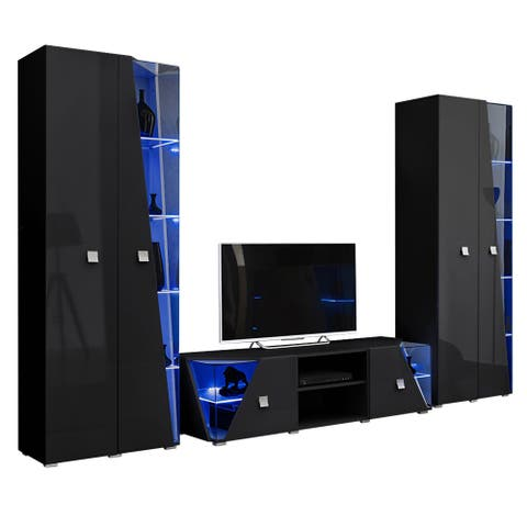 Edge Set TV-BK-BK Modern Wall Unit Entertainment Center