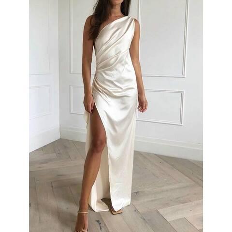 Split-Side One-Shoulder Maxi Dress